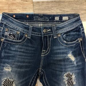 Miss Me Distressed Jeans Size 0 Easy Boot Cut